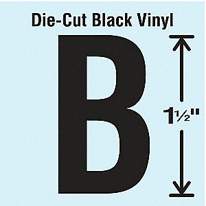 Letter Label, B, Black, 10 PK