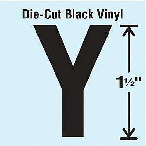 Letter Label, Y, Black, 10 PK