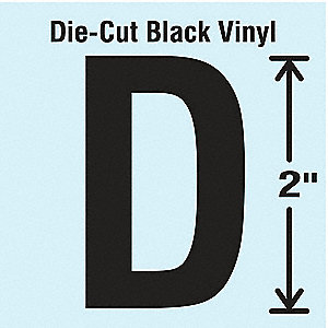 Letter Label, D, Black, 10 PK