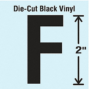 Letter Label, F, Black, 10 PK
