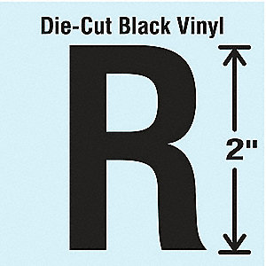 Letter Label, R, Black, 10 PK