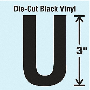 Letter Label, U, Black, 10 PK