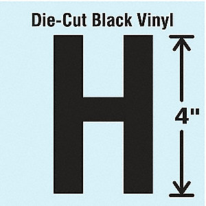 Letter Label, H, Black, 10 PK