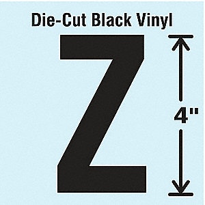 Letter Label, Z, Black, 10 PK