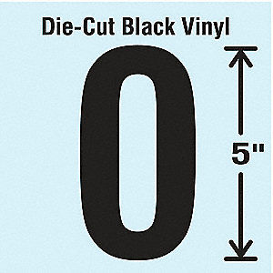 Number Label, 0, Black, 10 PK