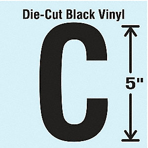 Letter Label, C, Black, 10 PK