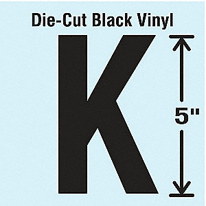 Letter Label, K, Black, 10 PK