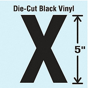 Letter Label, X, Black, 10 PK