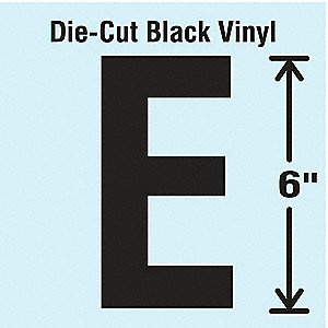 Letter Label, E, Black, 1 EA