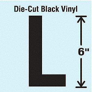Letter Label, L, Black, 1 EA