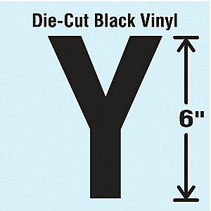 Letter Label, Y, Black, 1 EA