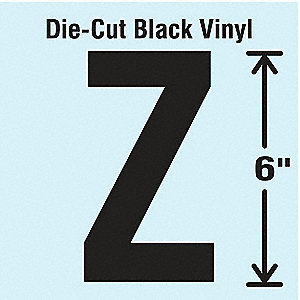 Letter Label, Z, Black, 1 EA