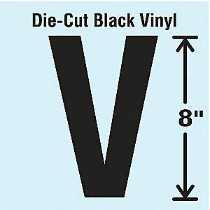 Letter Label, V, Black, 1 EA