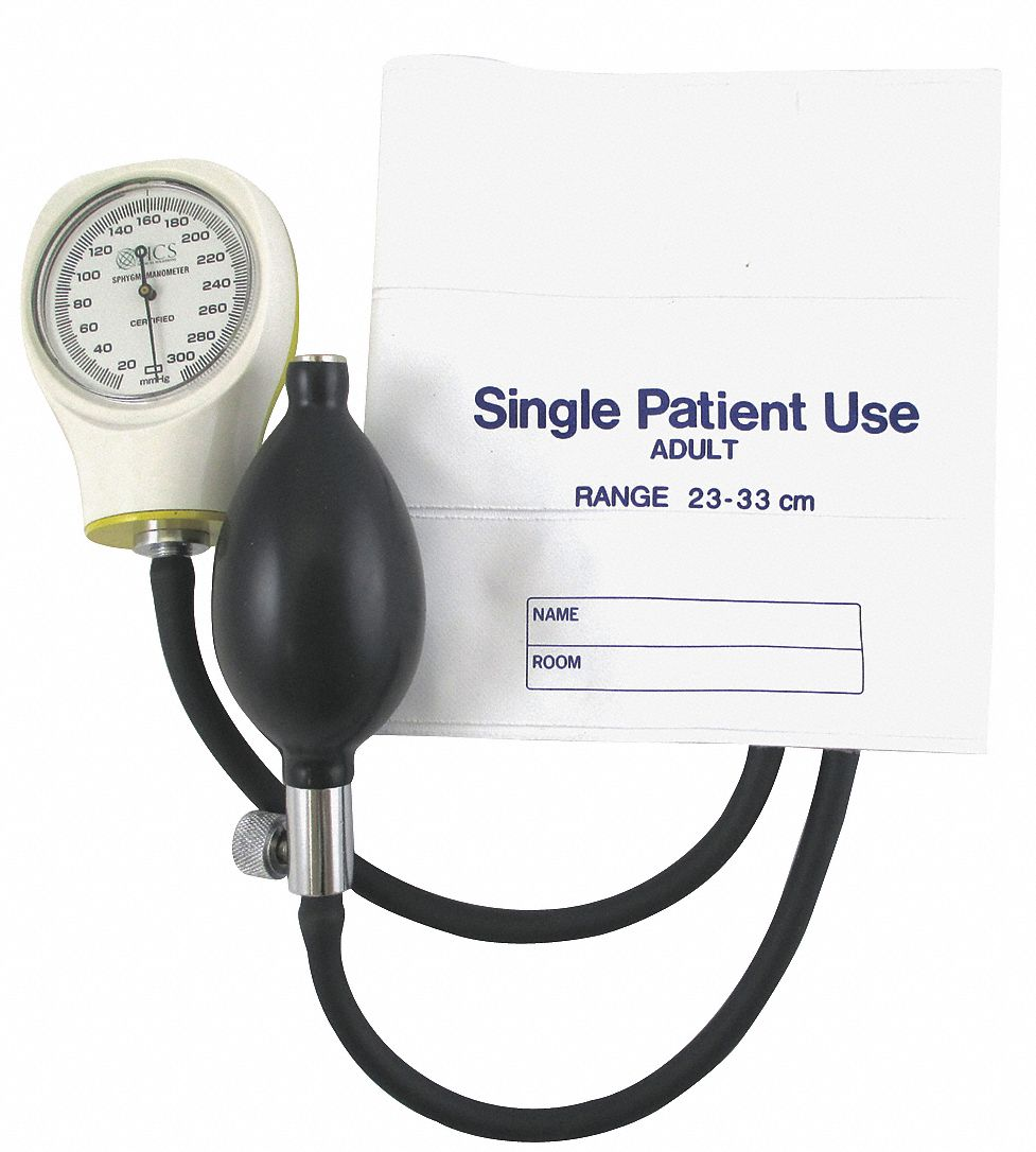 Single Patient Use Blood Pressure Unit,  Arm,  Adult,  11 in to 16-3/8 in Cuff Size,  Vinyl,  White