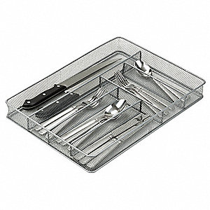 CUTLERY TRAY,6 COMPARTMENTS,SILVER