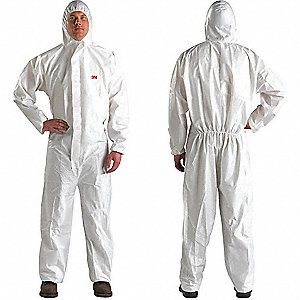 Hooded Disposable Coveralls with Elastic Cuff, White, L, Microporous Laminate