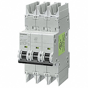 Miniature Circuit Breaker, 10 Amps, D Curve Type, Number of Poles: 3