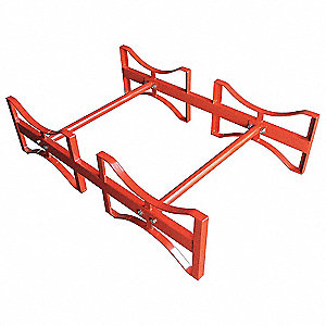 "Drum Rack, 12""H x 45-1/2""W x 30""D, (2) 55 gal. Drum Rack Capacity, Red"