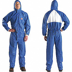 Hooded Disposable Coveralls with Knit Cuff, Blue/White, L, SMMS