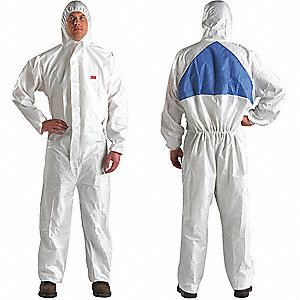 Hooded Coverall,White/Blue,XL,PK25