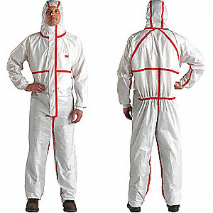 Hooded Disposable Coveralls with Knit Cuff, White/Red, 4XL, Polypropylene/Polyethylene Laminate Film
