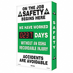 Scoreboard,Job Safety OSHA,20 x 28 In.