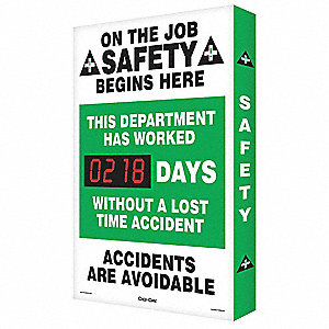 Scoreboard,On The Job Safety,24 x 36 In.
