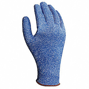 Uncoated Cut Resistant Glove, ANSI/ISEA Cut Level 4, Fiberglass, Nylon, Steel Lining, Cobalt Blue, 9
