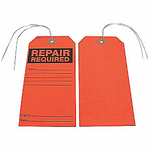 Repair Required Tag,Blck/Red,Paper,PK25