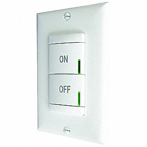Push Button Wireless Wall Switch, CFL, Incandescent, LED Light Technology, 1-Pole, White