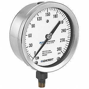 "4-1/2"" Process Pressure Gauge, 0 to 15 psi"
