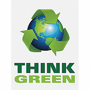 Poster,Think Green,18 x 24 In.