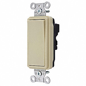 Wall Switch,3-Way,Wiring Modul,15A,Ivory