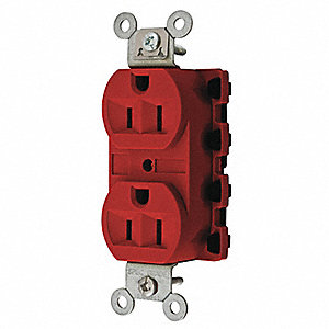 15A Commercial Environments Receptacle, Red; Tamper Resistant: No
