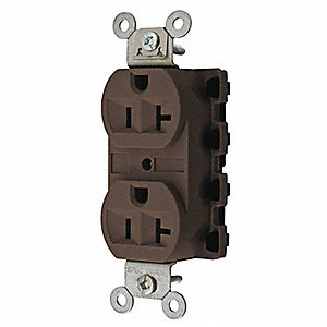 20A Commercial Environments Receptacle, Brown; Tamper Resistant: No