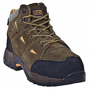 "5""H Men's Hiking Boots, Composite Toe Type, Suede Full Grain Leather Upper Material, Brown/Orange, S"