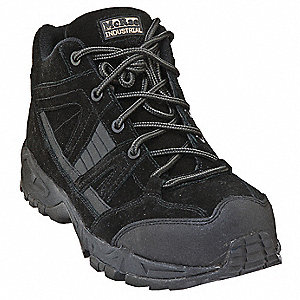 Men's Hiking Shoes, Composite Toe Type, Suede Full Grain Leather Upper Material, Black, Size 13