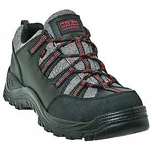 Men's Hiking Shoes, Steel Toe Type, Dull Action Leather, Nylon Webbing Upper Material, Black/Gray/Da