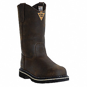 "11""H Men's Wellington Boots, Steel Toe Type, Full Grain Leather Upper Material, Dark Brown, Size 12W"