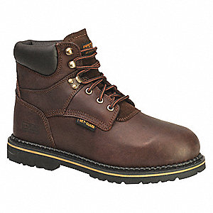 "6""H Men's Work Boots, Steel Toe Type, Full Grain Leather Upper Material, Dark Brown, Size 8M"