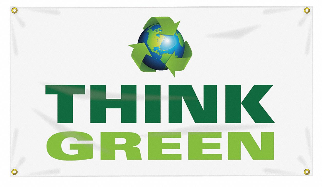 Banner,  Safety Banner Legend Think Green (Earth Picto),  28 in x 48 in,  English