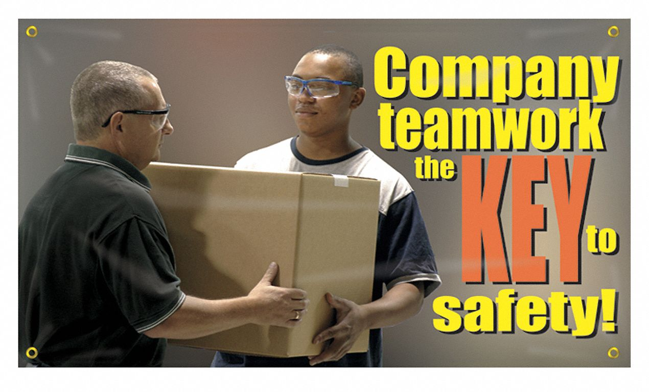 Banner,  Safety Banner Legend Company Teamwork The Key To Safety,  28 in x 48 in,  English