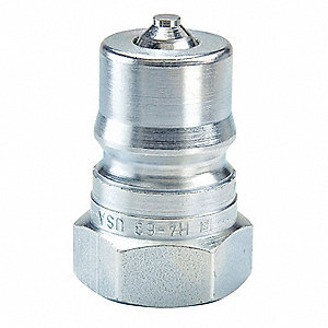 "9/16""-18 Steel Hydraulic Coupler Nipple, 1/4"" Body Size"