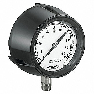 Pressure Gauge,Low,4-1/2 In.,1/4 In. NPT