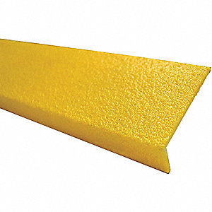 Yellow, Fiberglass FRP Stair Nosing, Installation Method: Adhesive or Fasteners, 24 in Width