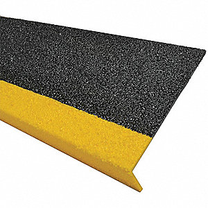 Yellow/Black, Fiberglass FRP Step Cover, Installation Method: Adhesive or Fasteners, 36 in Width