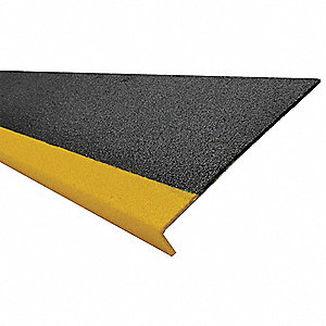 Yellow/Black, Fiberglass FRP Step Cover, Installation Method: Adhesive or Fasteners, 60 in Width