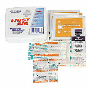 First Aid Kit, Kit, Plastic Case Material, General Purpose, 5 People Served Per Kit