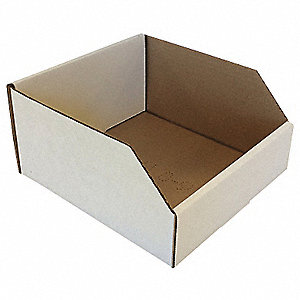 "Corrugated Shelf Bin, Test Rating 200 lb., 8"" Width, 4-1/2"" Height, 9"" Depth"