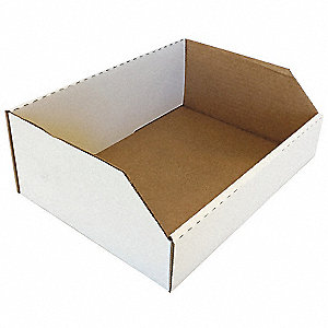 "Corrugated Shelf Bin, Test Rating 200 lb., 12"" Width, 4-1/2"" Height, 9"" Depth"